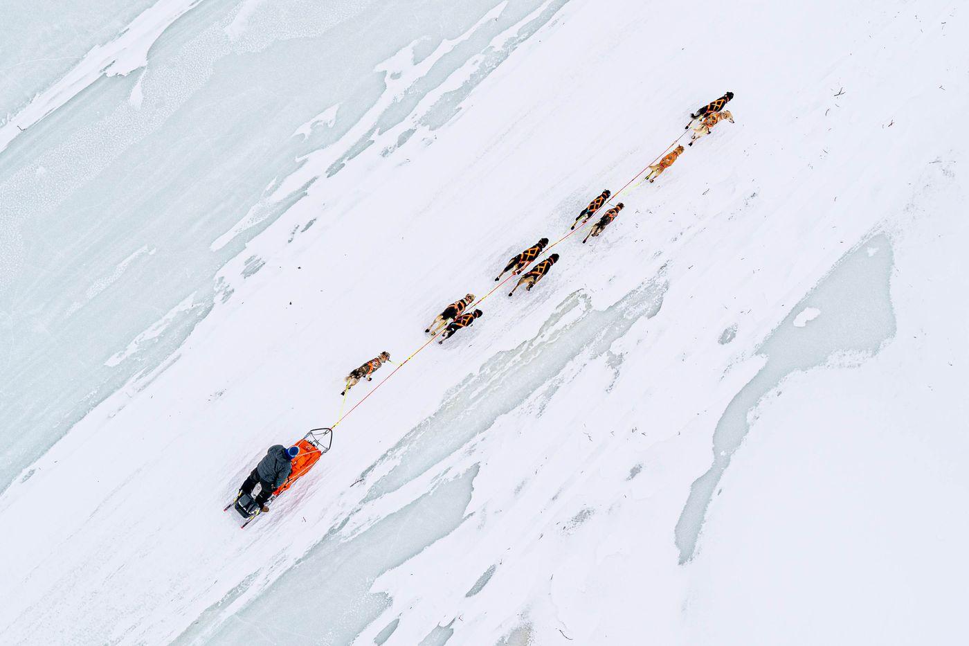 Joar Leifseth Ulsom mushes across Finger Lake on Sunday. (Loren Holmes / ADN)