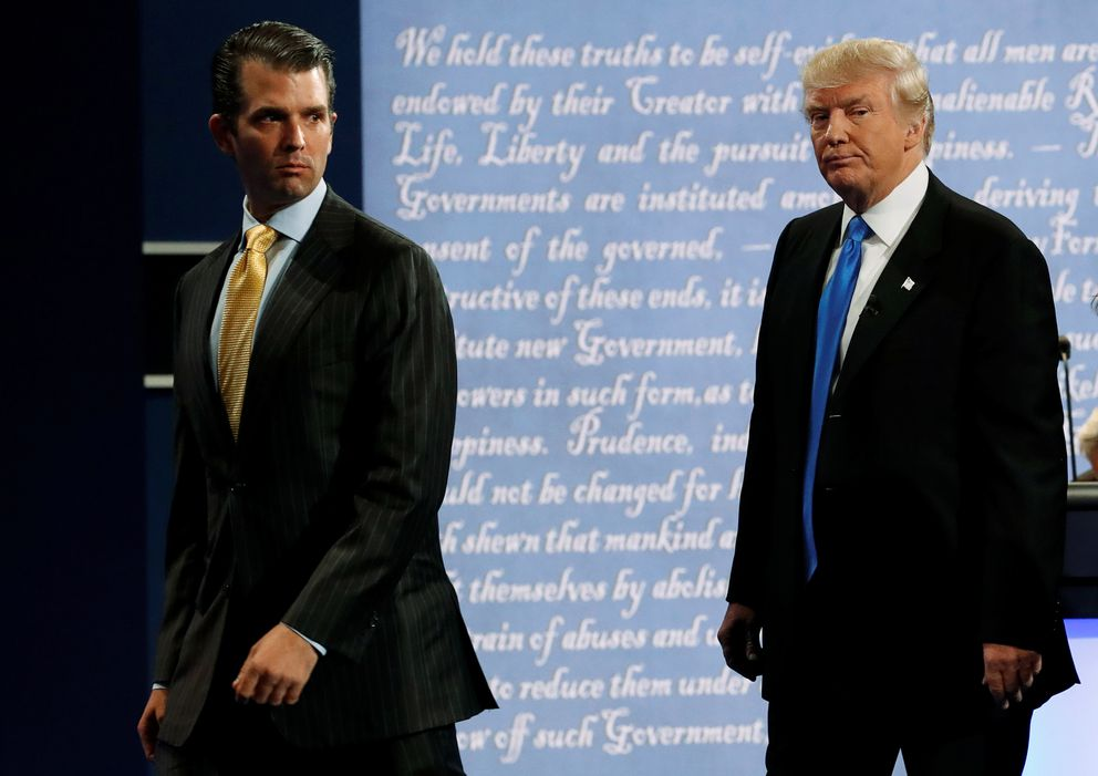 Donald Trump Jr. and Republican presidential nominee Donald Trump after Trump's debate against Democratic nominee Hillary Clinton at Hofstra University in Hempstead, New York, September 26, 2016. REUTERS/Brian Snyder