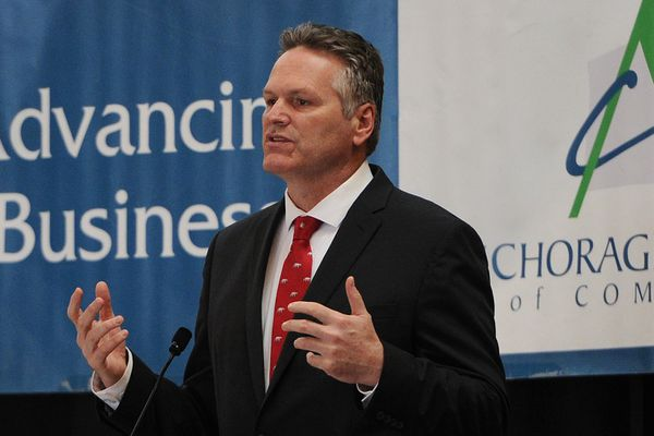 Gov. Mike Dunleavy continued his statewide discussion for a permanent fiscal plan during the Anchorage Chamber of Commerce