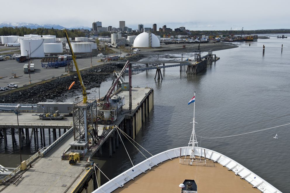 The bow of the Zaandam is tied to the Port of Anchorage. (Marc Lester / ADN)