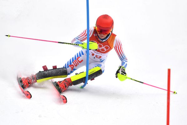 Feb 22, 2018; Pyeongchang, South Korea; Mikaela Shiffrin (USA) competes in the women's alpine combined slalom event during the Pyeongchang 2018 Olympic Winter Games at Jeongseon Alpine Centre. Eric Bolte-USA TODAY Sports