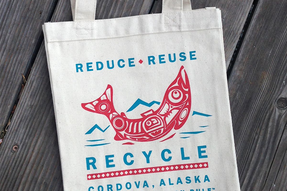 The Eyak Preservation Council has provided reusable shopping bags to Cordova residents since the city council voted unanimously to ban plastic bags and polystyrene foam food containers. (Eyak Preservation Council)