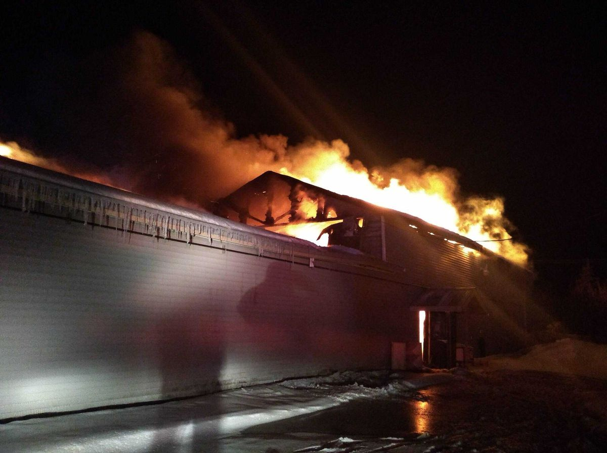 The Triumverate Theatre in Kenai caught fire in the early hours of Saturday, Feb. 20, 2021. The building was a total loss. Photo by Joe Rizzo