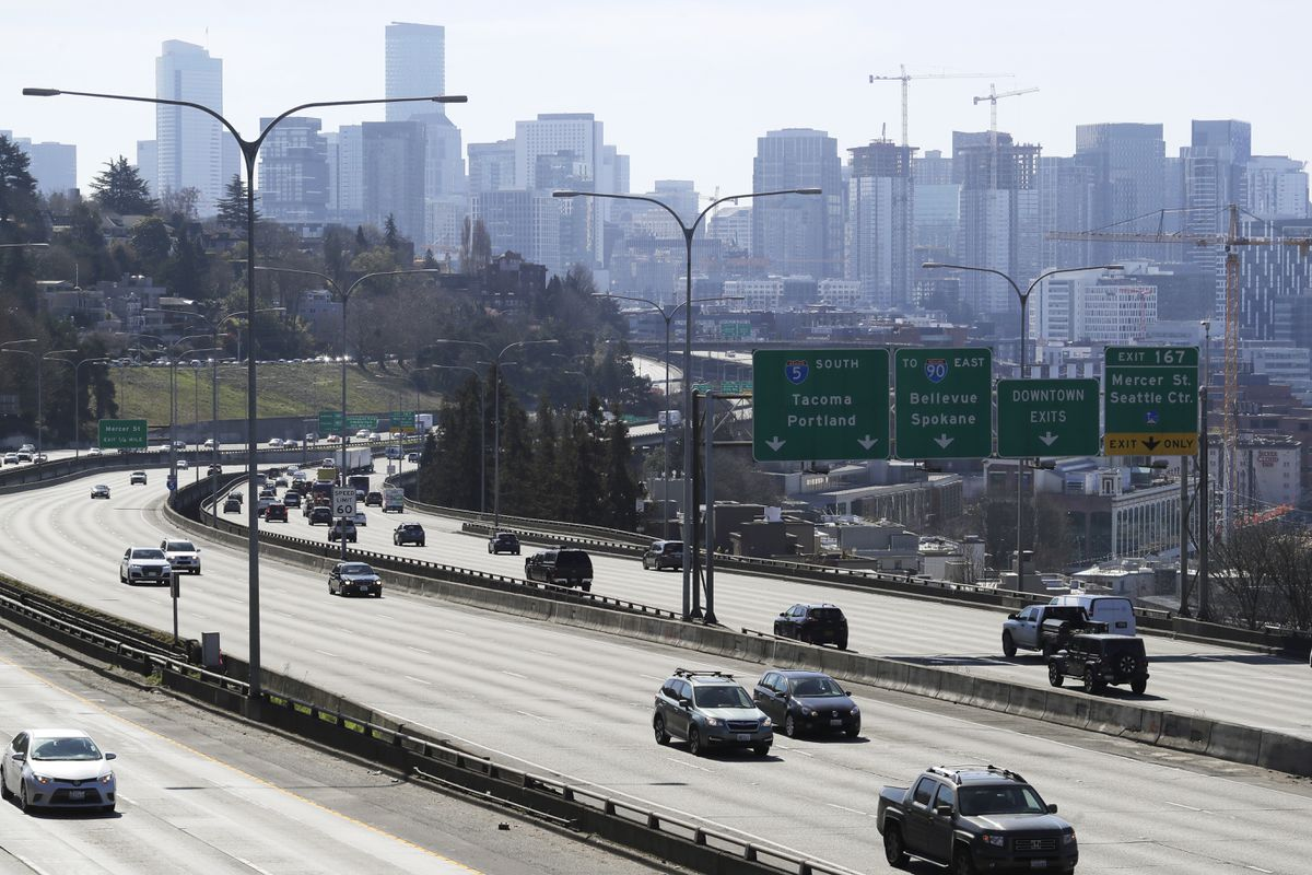 Early afternoon traffic on Interstate 5 north of downtown Seattle, March 20, 2020. (AP Photo/Ted S. Warren)