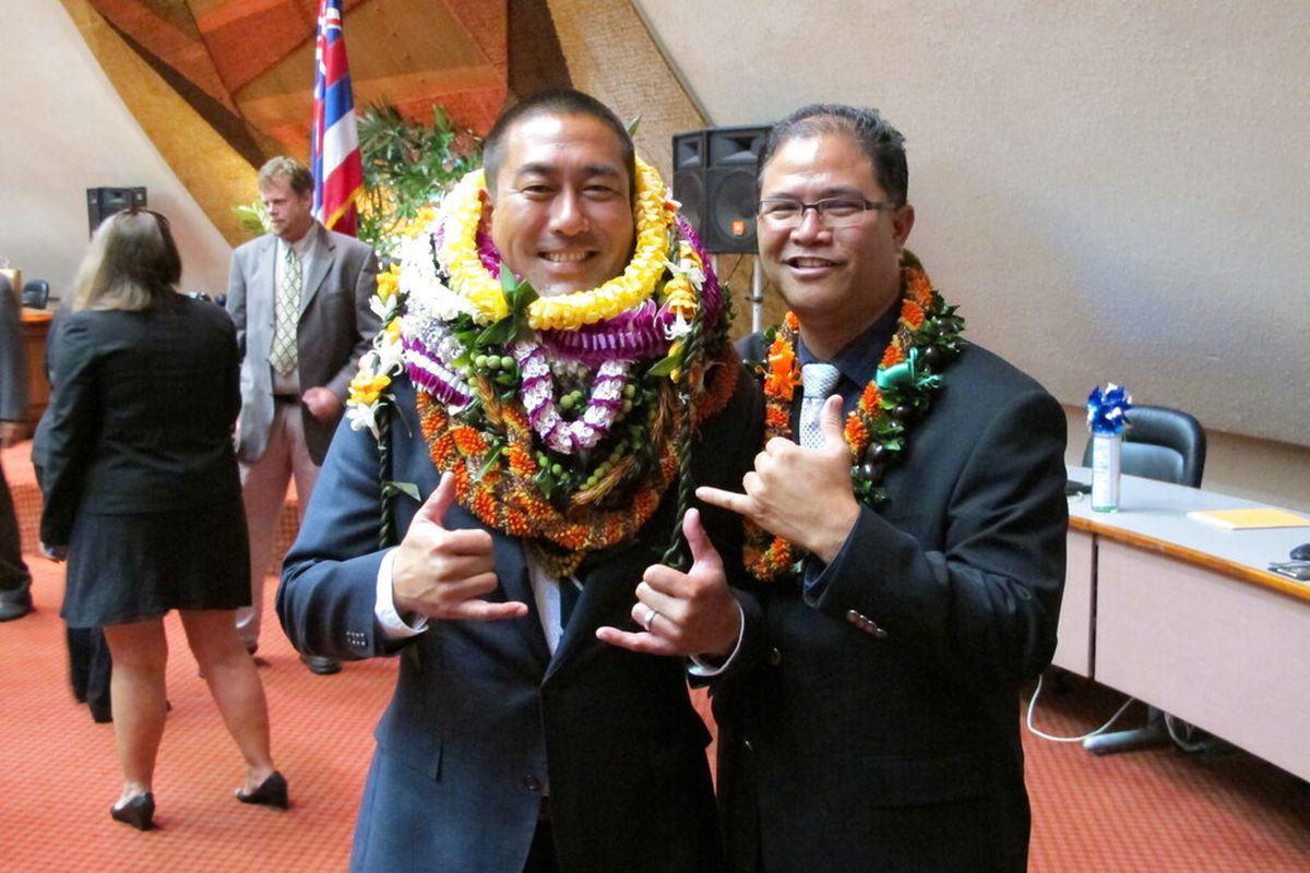 Derek Kawakami, Kauai's mayor, left, and Rep. James Tokioka in Honolulu in 2016. Kawakami has a choice word for a Florida man accused of trying to flout Hawaii's traveler quarantine: