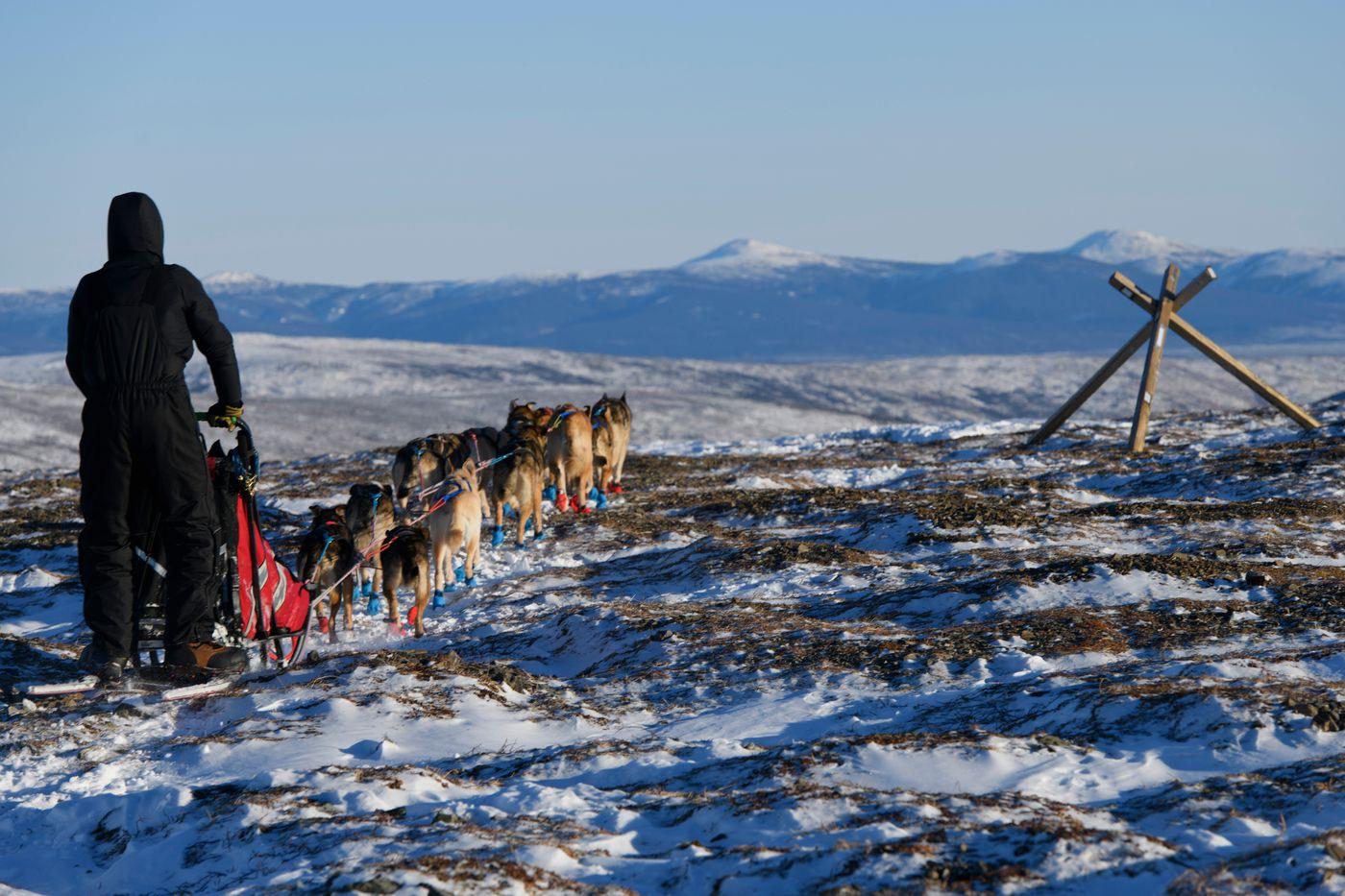 Deke Naaktgeboren, a race veteran from Fairbanks, reaches Eagle Summit during the Summit Quest 300 on February 14, 2021. (Marc Lester / ADN)