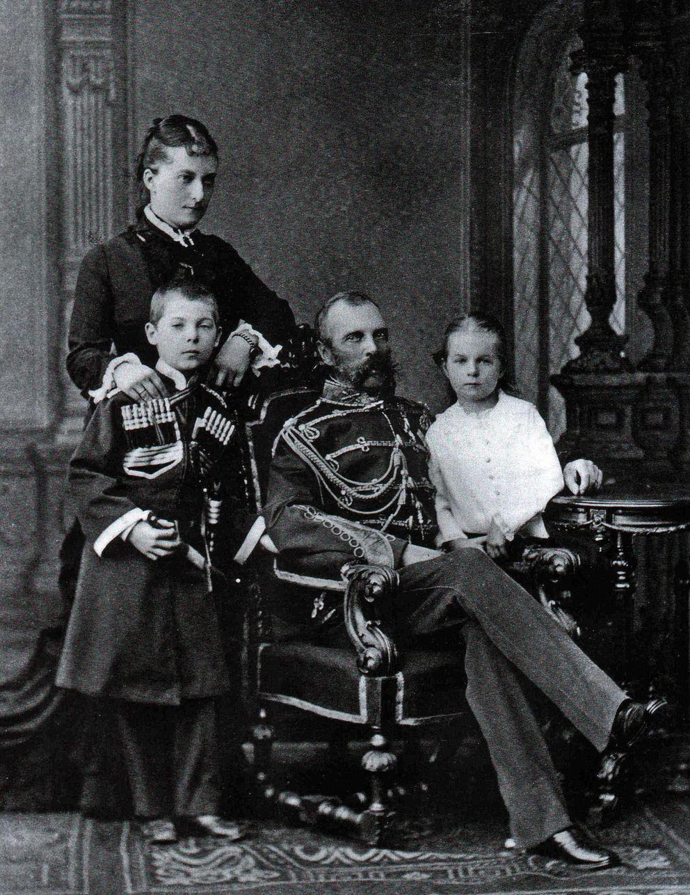 "Alexander II with his ""secret wife"" Ekaterina and their children."