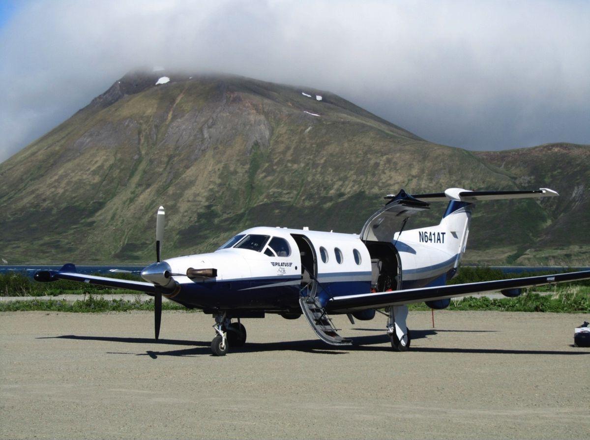 An Alaska Air Transit Pilatus PC-12 plane on the ground at False Pass, Alaska. (Photo courtesy Alaska Air Transit)