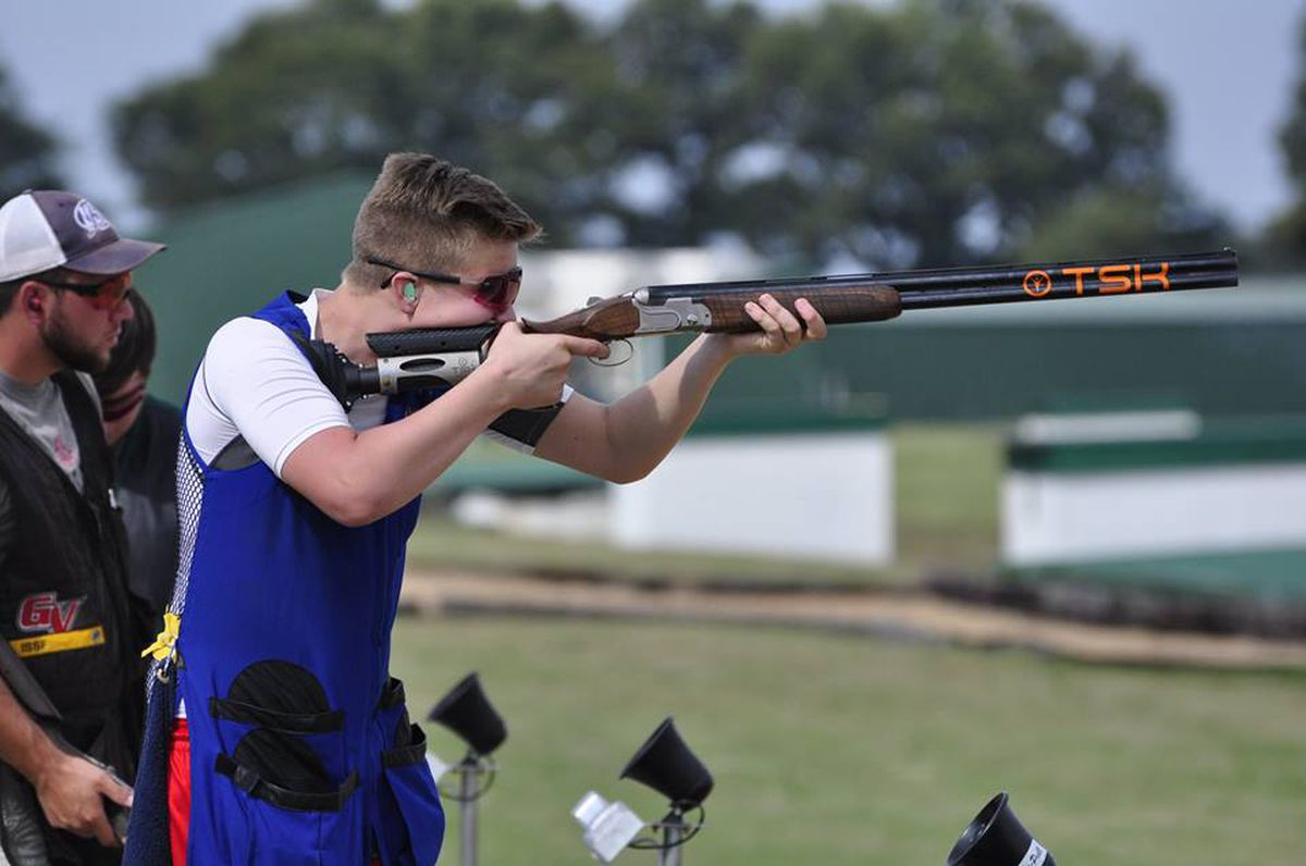 16-year-old Grayson Davey of Anchorage won USA Shooting's Fall Selection men's trap competition Tuesday in Tillar, Arkansas. (Photo courtesy of Delta Resort and Spa)