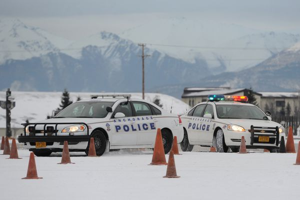 An Anchorage Police Department Officer Academy recruit pursues a
