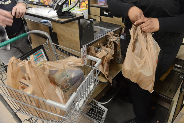 Gene Kubina checks out at Fred Meyer at in Anchorage, AK on Wednesday, August 29, 2018. The Anchorage Assembly has voted to ban single use plastic bags starting March 1. (Bob Hallinen / ADN)