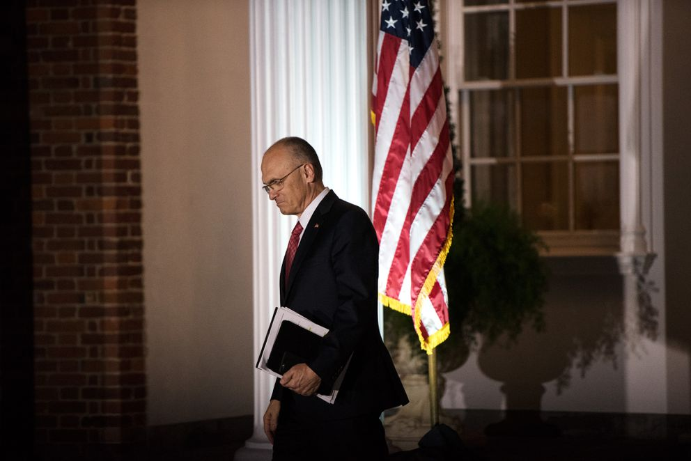 Andrew Puzder, CEO of CKE Restaurants, leaves after meeting with Donald Trump at the president-elect's golf resort in Bedminster, N.J., on Nov. 19. (Hilary Swift/The New York Times file)