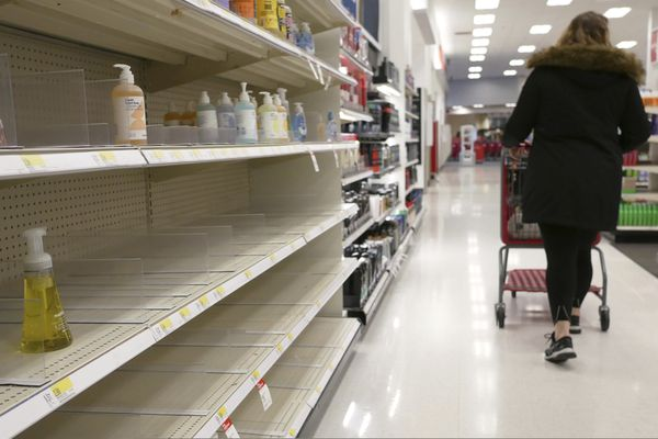 FILE - In this Tuesday, March 3, 2020 file photo, shelves that held hand sanitizer and hand soap are mostly empty at a store in Jersey City, N.J. On Friday, March 6, 2020, The Associated Press reported on stories circulating online incorrectly asserting that hand sanitizer will do nothing to protect you from the new coronavirus. Products containing more than 60% alcohol are effective against the new coronavirus, according to the Centers for Disease Control and Prevention. Dr. Anna Sick-Samuels, a pediatric infectious disease specialist at Johns Hopkins University, says using soap and water are the best method to help protect against the coronavirus, but hand sanitizer will also get the job done. (AP Photo/Seth Wenig)