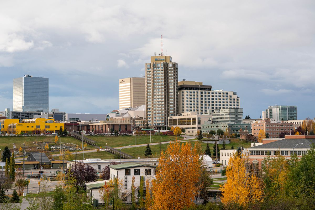 Downtown Anchorage, seen from the Government Hill neighborhood on Friday, Oct. 9, 2020. (Loren Holmes / ADN)