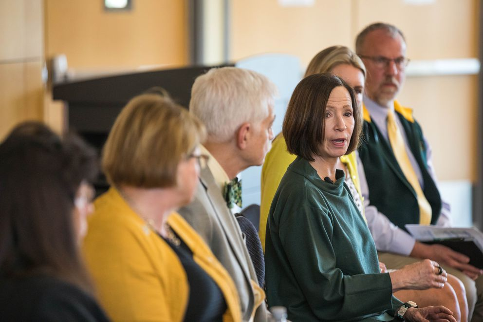 Chancellor Cathy Sandeen answers questions from an audience at the UAA/APU Consortium Library on Friday, Aug. 2, 2019 during an 'ask me anything ' forum. (Loren Holmes / ADN)