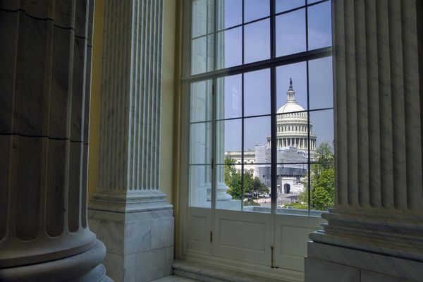 The Capitol is seen from the Cannon House Office Building rotunda, on Capitol Hill, in Washington, Thursday, April 18, 2019. (AP Photo/Cliff Owen)