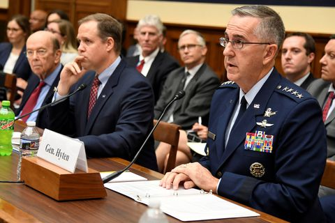 US Strategic Command Commander Gen. John Hyten (R) makes remarks as NASA Administrator Jim Bridenstine (C) and Commerce Secretary Wilbur Ross listen listen during the House Armed Services Strategic Forces Subcommittee's joint hearing with the House Science, Space and Technology Committee, in Washington, U.S., June 22, 2018. The panel heard testimony on President Donald Trump's proposed Space Force. REUTERS/Mike Theiler