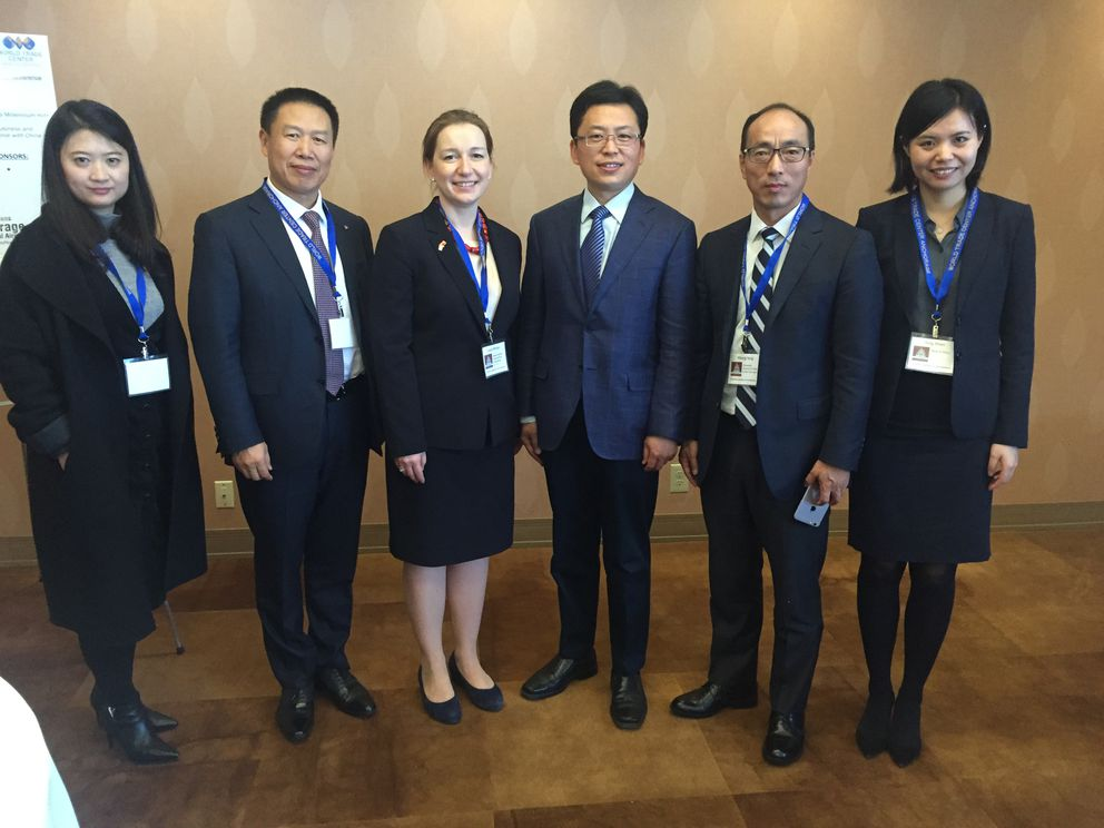 Officials with the Chinese government and Bank of China discussed the $43 billion Alaska LNG project and other issues on Jan. 23, 2018, at an Anchorage conference on trade between Alaska and its top trading partner, China. Pictured from left to right are Mengyuan Hao, Raymond Qiao, Lieza Wilcox, with Alaska Gasline Development Corp., Faqiang Ren, Yihang Yang and Ying Shen. (Alex DeMarban / ADN)