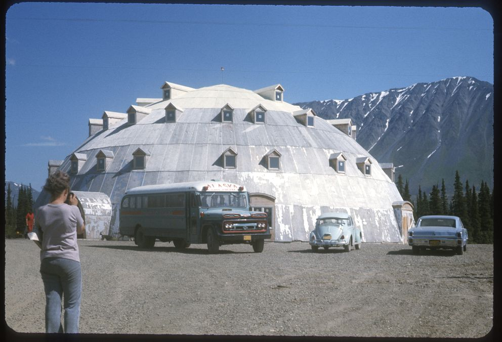 'McKinley trip July '75. Igloo hotel under construction on new Fairbanks Hwy. ' (Photo courtesy Jinny Kirk)