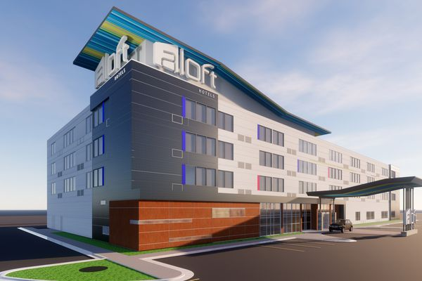 An Aloft Hotel is planned for midtown Anchorage at 36th and C. in 2021. (Artist's rendering provided by JL Properties)