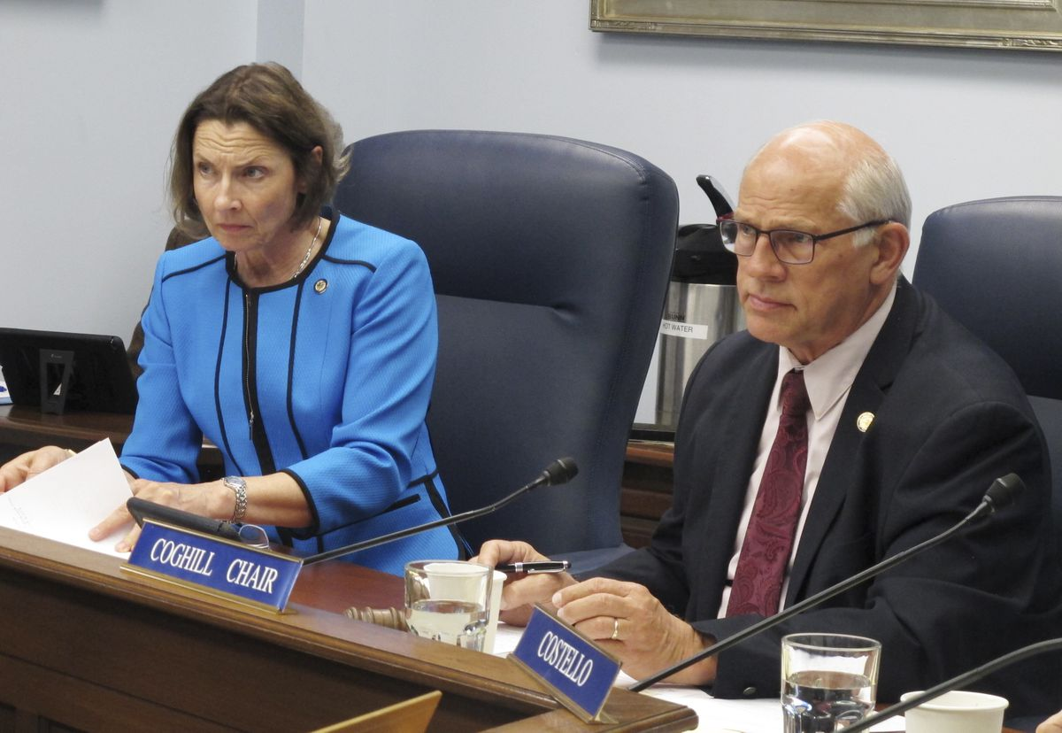 Alaska Senate President Cathy Giessel, left, and Senate Rules Chairman John Coghill listen during a hearing on a bill to pay a $1,600 Alaska Permanent Fund dividend on Monday, June 3, 2019, in Juneau. (AP Photo/Becky Bohrer)