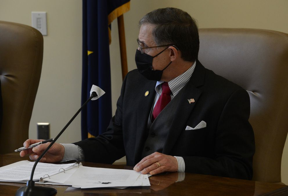 Rep. George Rauscher, R-Sutton, during a March 11, 2021 news conference held by the Alaska House Republicans. (James Brooks / ADN)