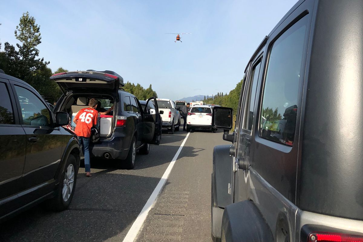 Traffic on the Parks Highway came to a standstill as emergency workers dealt with the fatal accident  Monday. (Photo by Lizzie Hartman)