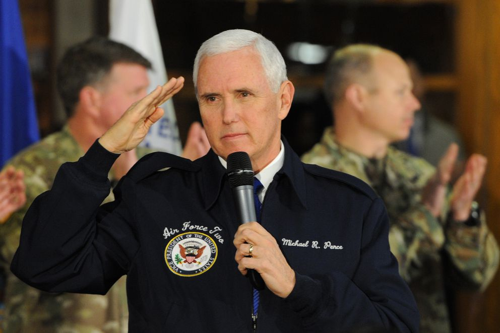 Vice President Mike Pence visited with troops on Joint Base Elmendorf-Richardson during a refueling stop on Veterans Day, Sunday, Nov. 11, 2018. (Bill Roth / ADN)