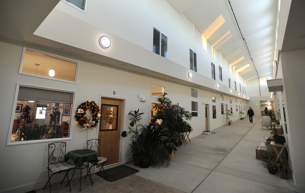 An atrium allows some of the residents at the Ravens' Roost to have indoor access to the Common House on Dec. 11. (Bill Roth / Alaska Dispatch News)