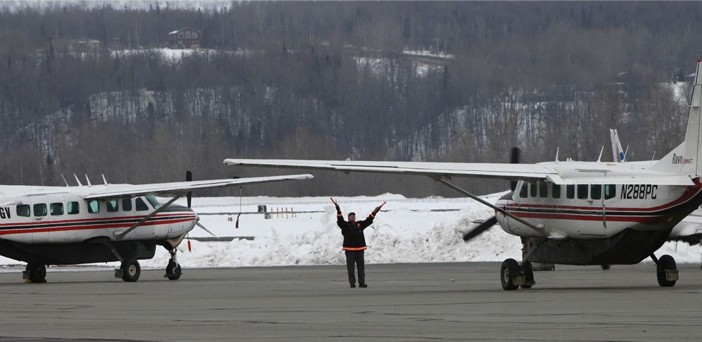 Ravn Connect aircraft that serve rural Alaska are parked at Palmer Municipal Airport on Thursday, April 2, 2020. (Bill Roth / ADN)