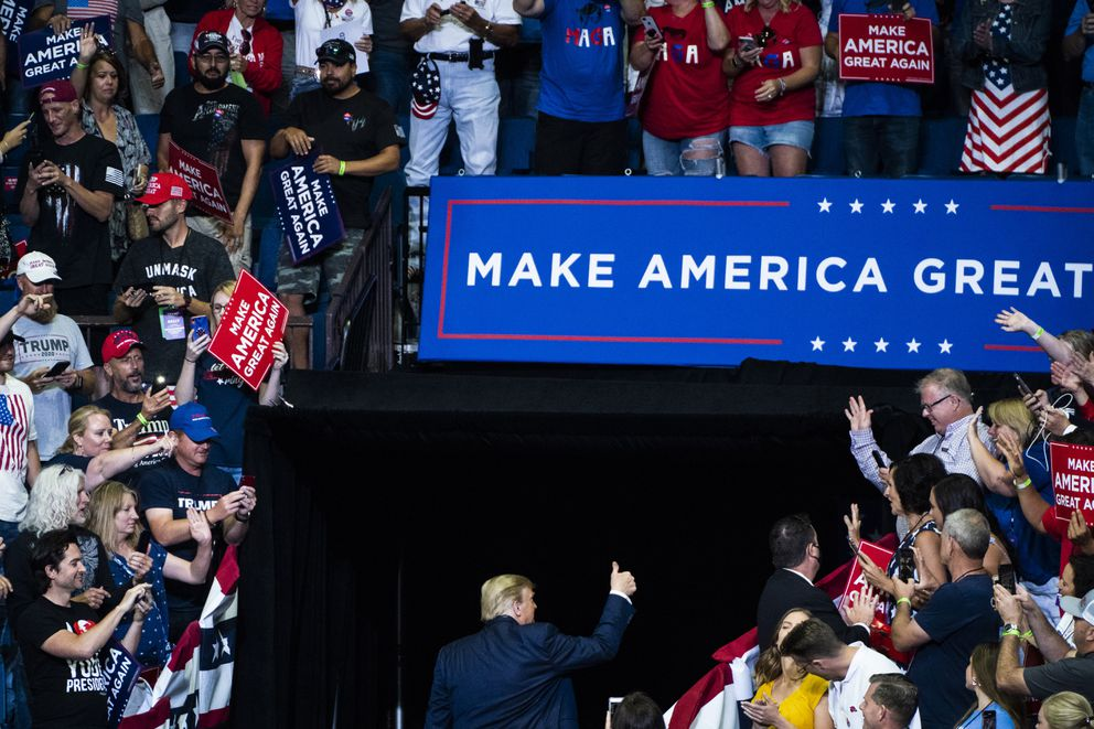 Supporters cheer as President Donald Trump departs during a 'Make America Great Again! ' rally on June 20, 2020 in Tulsa, Okla. Washington Post photo by Jabin Botsford