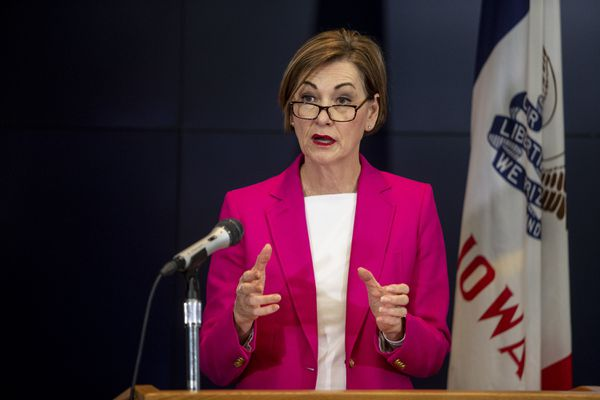 Iowa Governor Kim Reynolds speaks to the press during a news conference on Sunday, March 29, 2020, about the coronavirus COVID-19 and the state's response from the State Emergency Operation Center in Johnston, Iowa. (Kelsey Kremer/The Des Moines Register via AP, Pool)