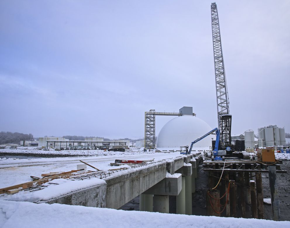 A 500-ton crane rests on a temporary access platform at the Port of Alaska on Friday. (Emily Mesner / ADN)