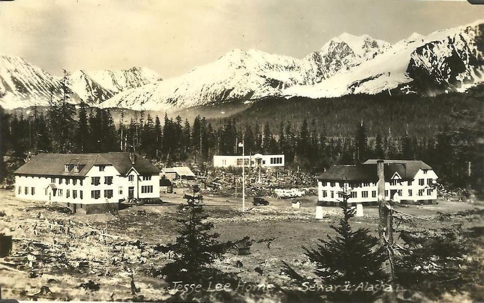 The Jesse Lee Home in Seward, circa 1927. The boys' dormitory is at left and the girls dormitory is at far right. The school is in the middle. (Doug Capra collection)