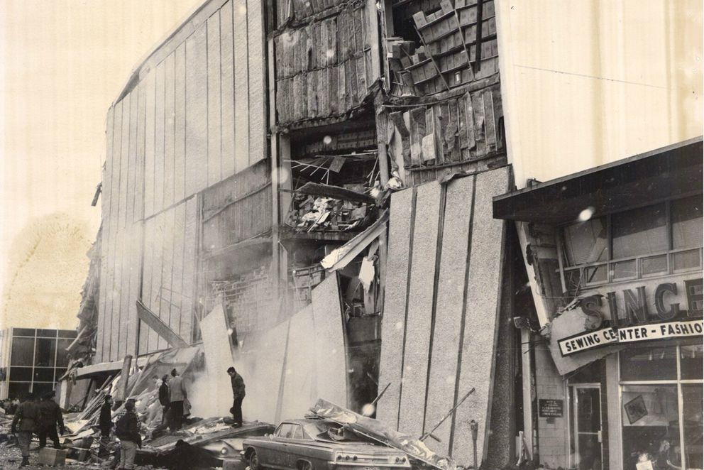JC Penney building in Anchorage after the 1964 earthquake. (ADN archive)