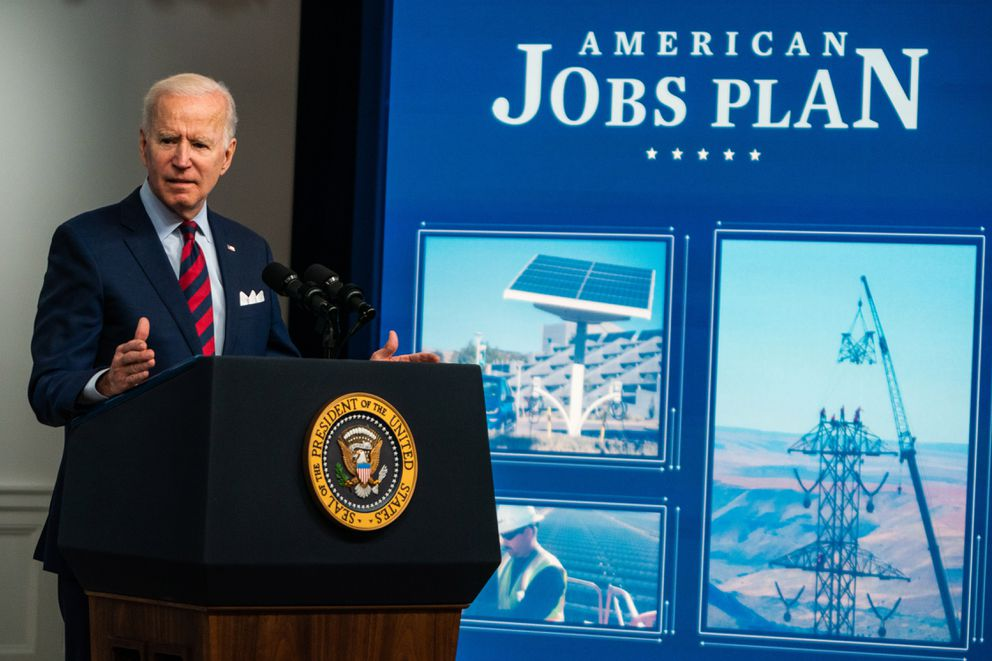 President Joe Biden during remarks on the American Jobs Plan in the South Court Auditorium at the Eisenhower Executive Office Building on April 7, 2021. (Washington Post photo by Demetrius Freeman)