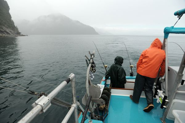 Rain greets sport fishermen seeking salmon aboard the F/V Florette C., owned and operated by Dianne Dubuc, on Tuesday morning, August 2, 2016, near Fox Island in Resurrection Bay. (Erik Hill / Alaska Dispatch News)