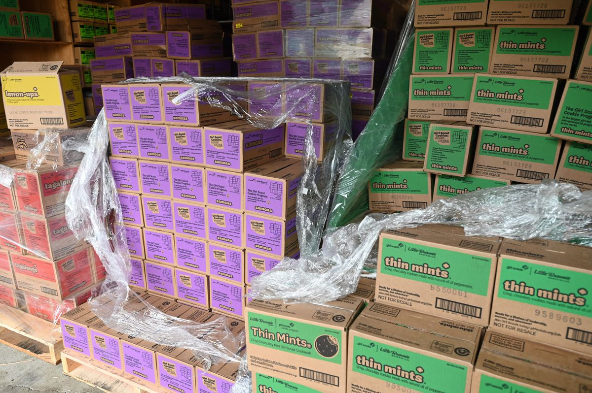 Thousands of Girl Scout Cookies remain to be sold when the COIVD-19 restrictions are lifted. Thursday, April 23, 2020. (Bill Roth / ADN)