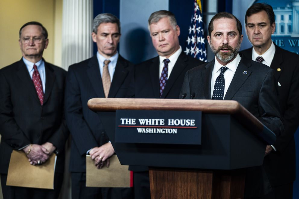 Secretary of Health and Human Services Alex Azar speaks during a briefing with members of President Donald Trump's Coronavirus task force on Jan 31. Washington Post photo by Jabin Botsford
