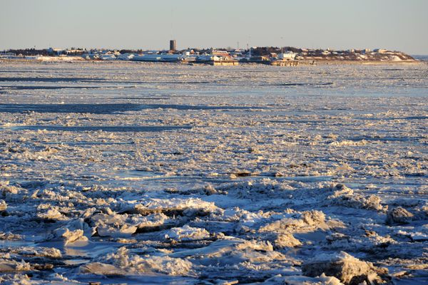 Nushagak Bay ice fills the scene in a view from Kanakanak Road looking back towards town on Tuesday, Nov. 29, 2016, in Dillingham. (Erik Hill / Alaska Dispatch News)