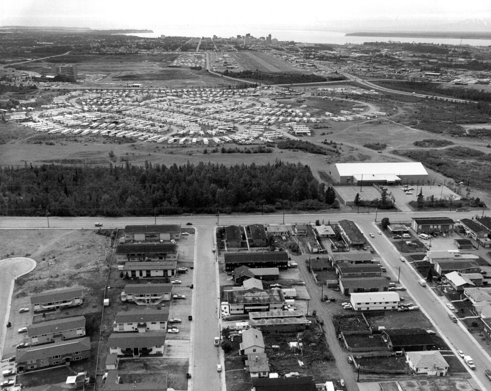 Penland Mobile Home Park, June 1979, looking west toward Merrill Field and downtown. The Northway Mall hadn't yet been built. (ADN archive)