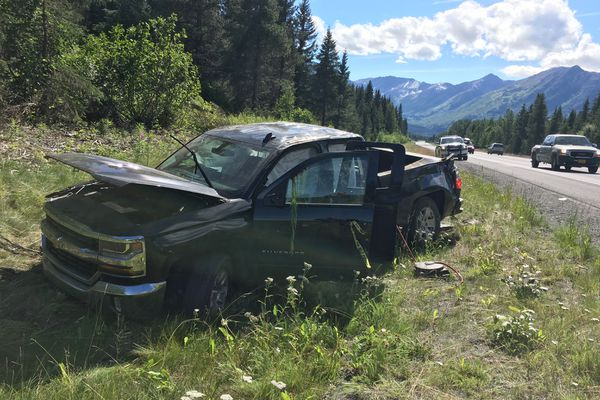 Paul Caron's Chevrolet pickup was totaled in a Seward Highway carjacking, Tuesday, July 31, 2018. (Paul Caron)