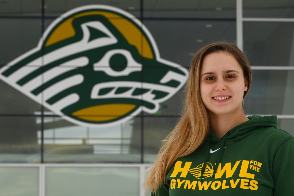 UAA interim gymnastics coach Marie-Sophie Boggasch at the Alaska Airlines Center on Wednesday, Nov. 11, 2020, where the Seawolves normally host home meets. (Bill Roth / ADN)