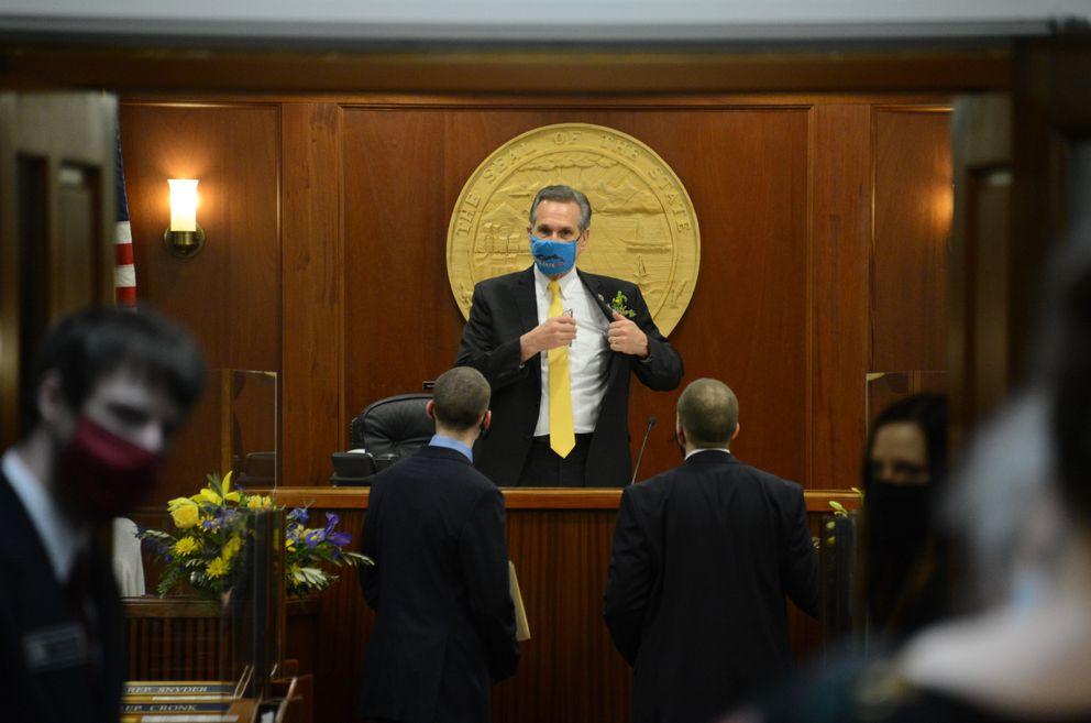 Lt. Gov. Kevin Meyer stands and prepares to leave the Alaska House of Representatives on Tuesday, Jan. 19, 2021 as the 32nd Alaska State Legislature convenes in Juneau. (James Brooks / ADN)