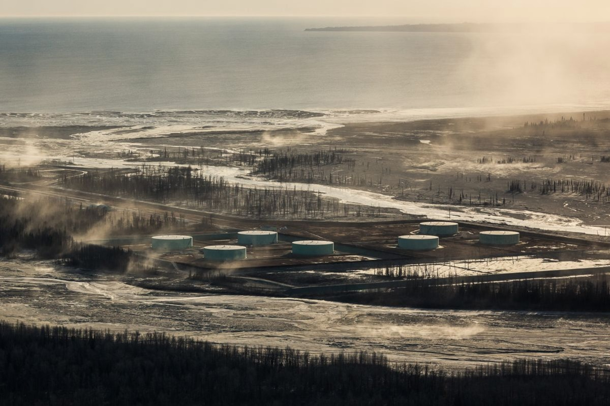 The Drift River Oil Terminal, in the shadow ofMount Redoubt. (Loren Holmes / ADN archive 2012)