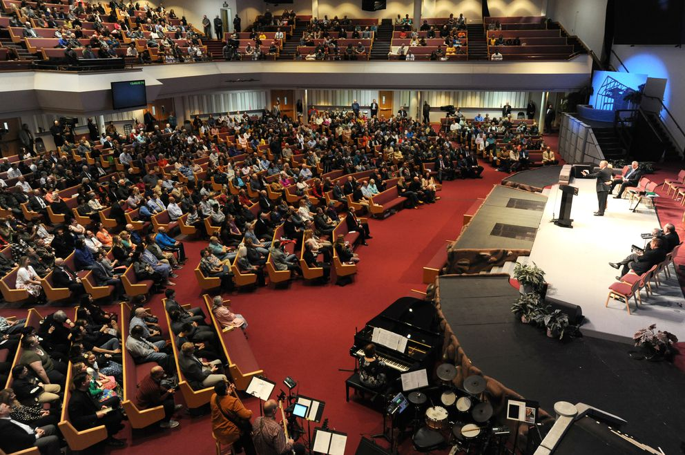Hundreds of people attended the last sermon of Rev. Jerry Prevo before retiring as pastor of the Anchorage Baptist Temple on Sunday, May 5, 2019. (Bill Roth / ADN)