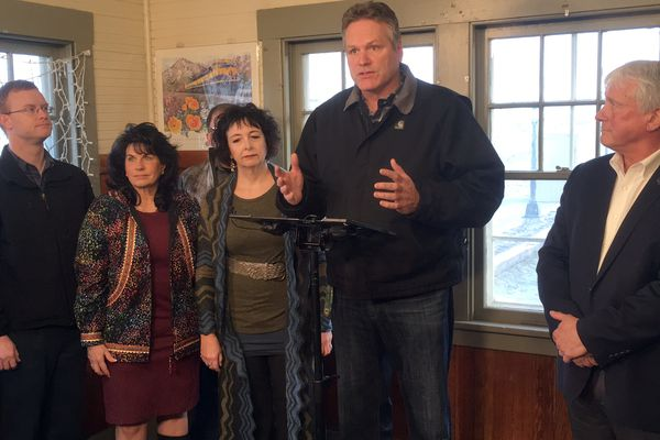 Governor-elect Mike Dunleavy introduces John MacKinnon, right, as his commissioner for the Alaska Department of Transportation and Public Facilities Wednesday Nov. 21, 2018 in the Wasilla railroad depot. Dunleavy and MacKinnon were accompanied by members of the Matanuska-Susitna Borough's delegation to the Alaska Legislature. From left to right are Rep. David Eastman, R-Wasilla, Rep. Cathy Tilton, R-Wasilla, Sen. Shelley Hughes, R-Palmer, governor-elect Mike Dunleavy, and John MacKinnon, newly named commissioner of the Department of Transportation and Public Facilities. (James Brooks / ADN)