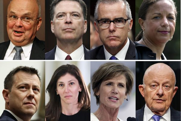 These file photos, top row from left are former CIA Director Michael Hayden, former FBI Director James Comey, former acting FBI director Andrew McCabe and former national security adviser Susan Rice. Bottom row from left are former FBI Deputy Assistant Director Peter Strzok, former Deputy Attorney General Sally Yates and former National Intelligence Director James Clapper. President Donald Trump acted Aug. 15, 2018, on a threat and revoked the security clearance of former CIA Director John Brennan, citing a constitutional responsibility to protect classified information. Trump says he is reviewing security clearances for nine other individuals, including the eight pictured. (AP Photo/Files)