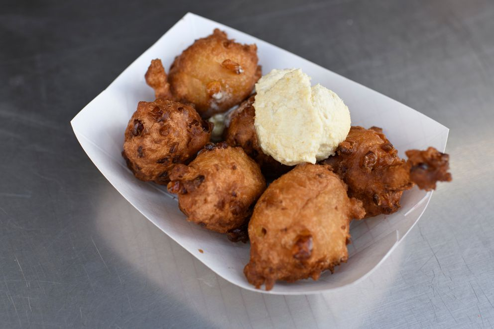Corn Fritters are served at Big Dipper food stand. (Marc Lester / ADN)
