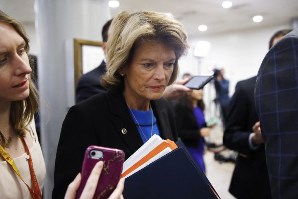 Sen. Lisa Murkowski, R-Alaska, speaks with reporters during the impeachment trial of President Donald Trump on charges of abuse of power and obstruction of Congress on Capitol Hill in Washington, Wednesday, Jan. 29, 2020. (AP Photo/Patrick Semansky)